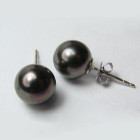 金G18K海水珍珠耳钉 9-9.5mm 圆形