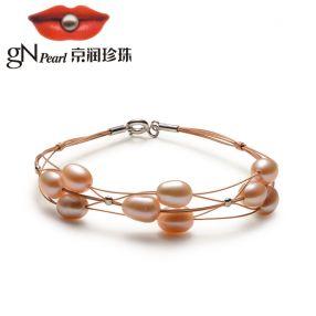 京润 梦之恋 5-6mm米形 褐色淡水珍珠手链 合金扣 送妈妈女友