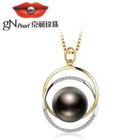 京润【流光】11-11.5mm正圆 G18K金镶大溪地黑珍珠吊坠 配钻石