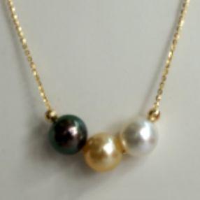 金G18K海水珍珠吊链 7.5-10.5mm 圆形 黑白黄 18寸