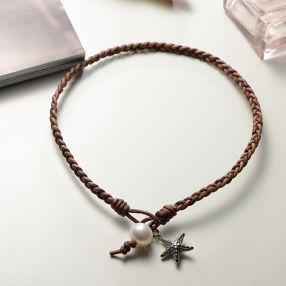 京润 星之恋 12-13mm圆形 淡水珍珠皮绳项链 不锈钢扣/棕红色圆