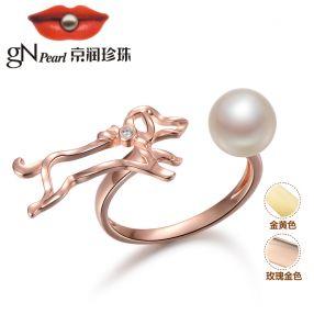 京润 问情 神犬小七2剧中同款 7-8mm圆形S925银淡水珍珠戒指