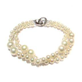 淡水珍珠手链 4-8mm 圆形 白色 18cm二股