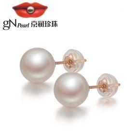 京润 纤丽 正圆G18K金海水珍珠耳钉精致优雅