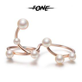 #ONE   高迪曲线淡水真珍珠戒指 独立设计师  电玫瑰金
