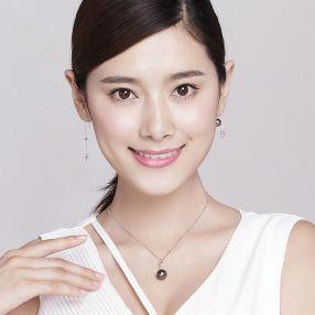 京润 笑影 9-9.5mm正圆 G18K金镶大溪地黑珍珠耳坠耳钉 旋转珍珠,可把珍珠取出来 镶钻石