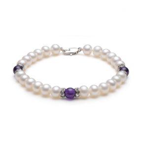 淡水珍珠/紫晶手链 6-7mm 圆形 白色 18cm